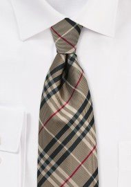 Golden Tan Plaid Tie for Kids