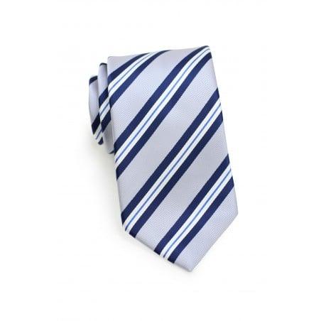 Preppy Gray Repp Striped Necktie