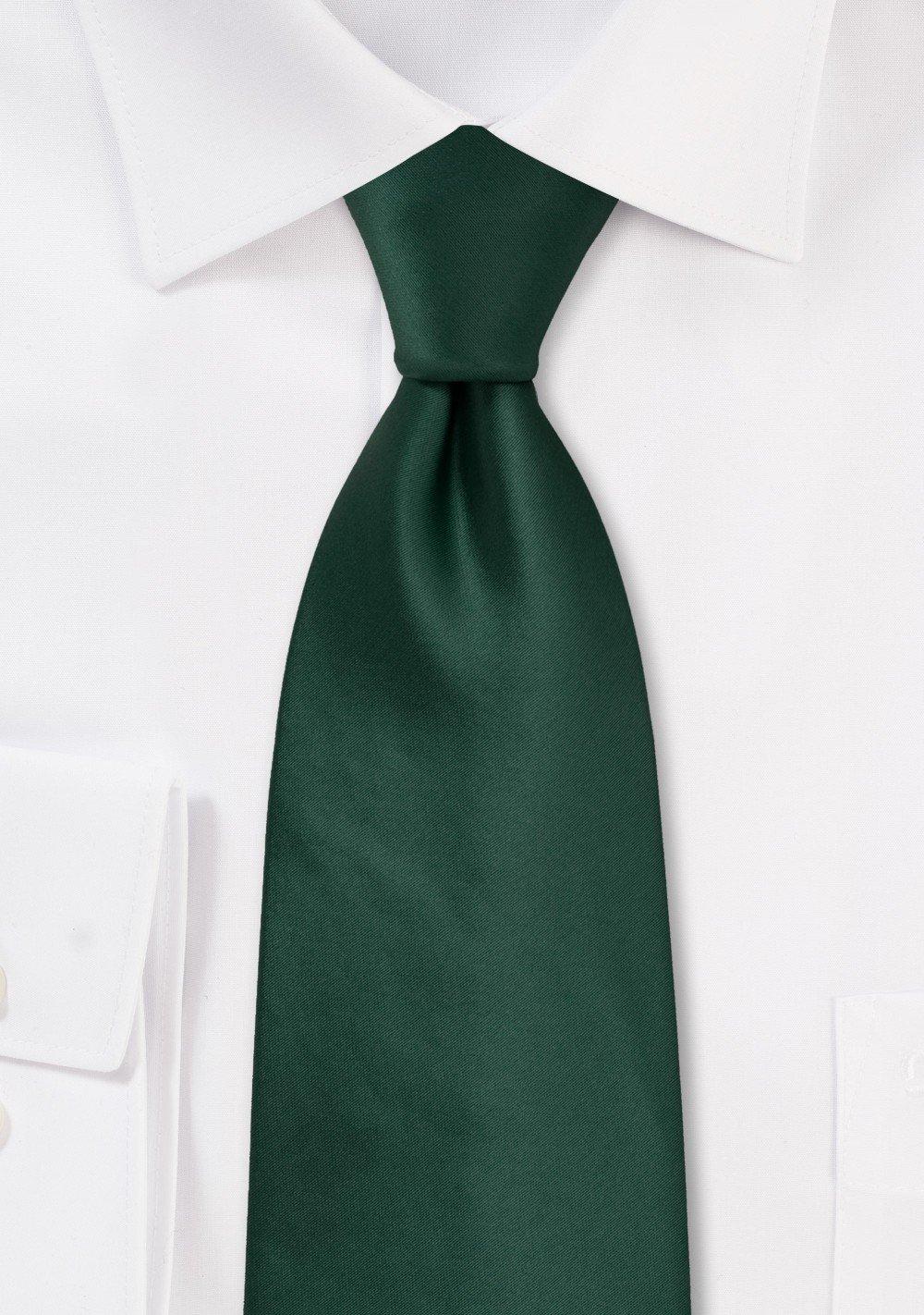 Solid Dark Green Tie in Extra Long