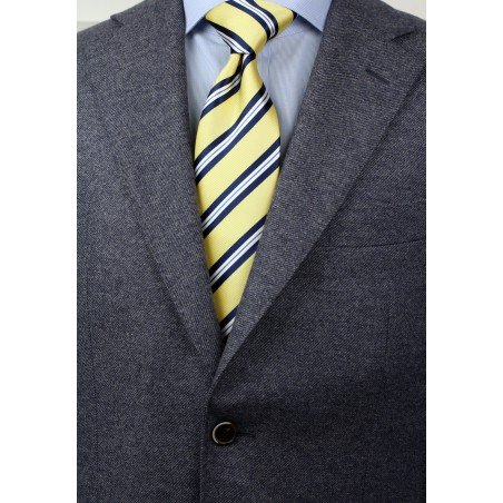 Yellow, Navy, and White Striped Necktie Styled