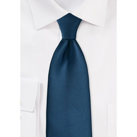 Dark Teal Blue Tie in Kids Length