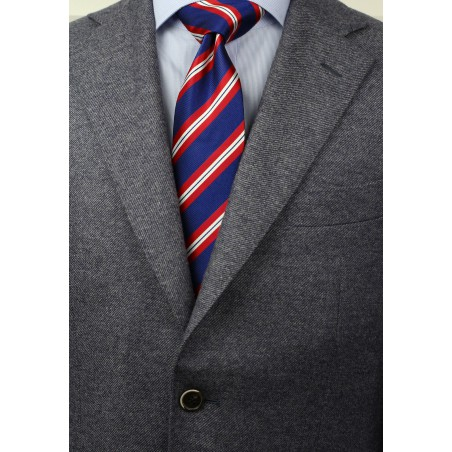 Modern Repp Tie in Navy and Red Styled