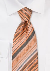 Coral Orange Striped Necktie