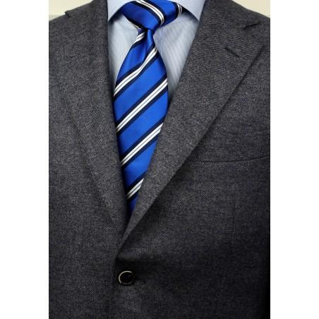 Horizon Blue Repp Striped Tie Styled