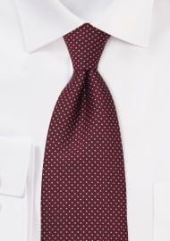 XL Length Cardinal Red Mens Pin Dot Tie