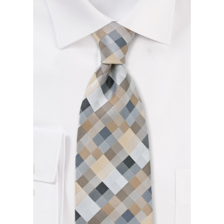 Extra Long Tie in Silvers and Taupes