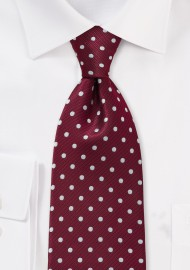 Burgundy and Silver XL Length Polka Dot Tie