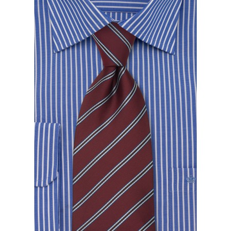Maroon Neckties - Maroon Color Striped Tie