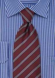 Classic XL Length Tie in Burgundy