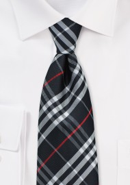 Trendy Black Tartan Plaid Tie for Kids