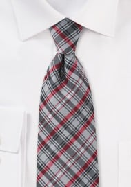 Plaid Tie in Greys and Reds