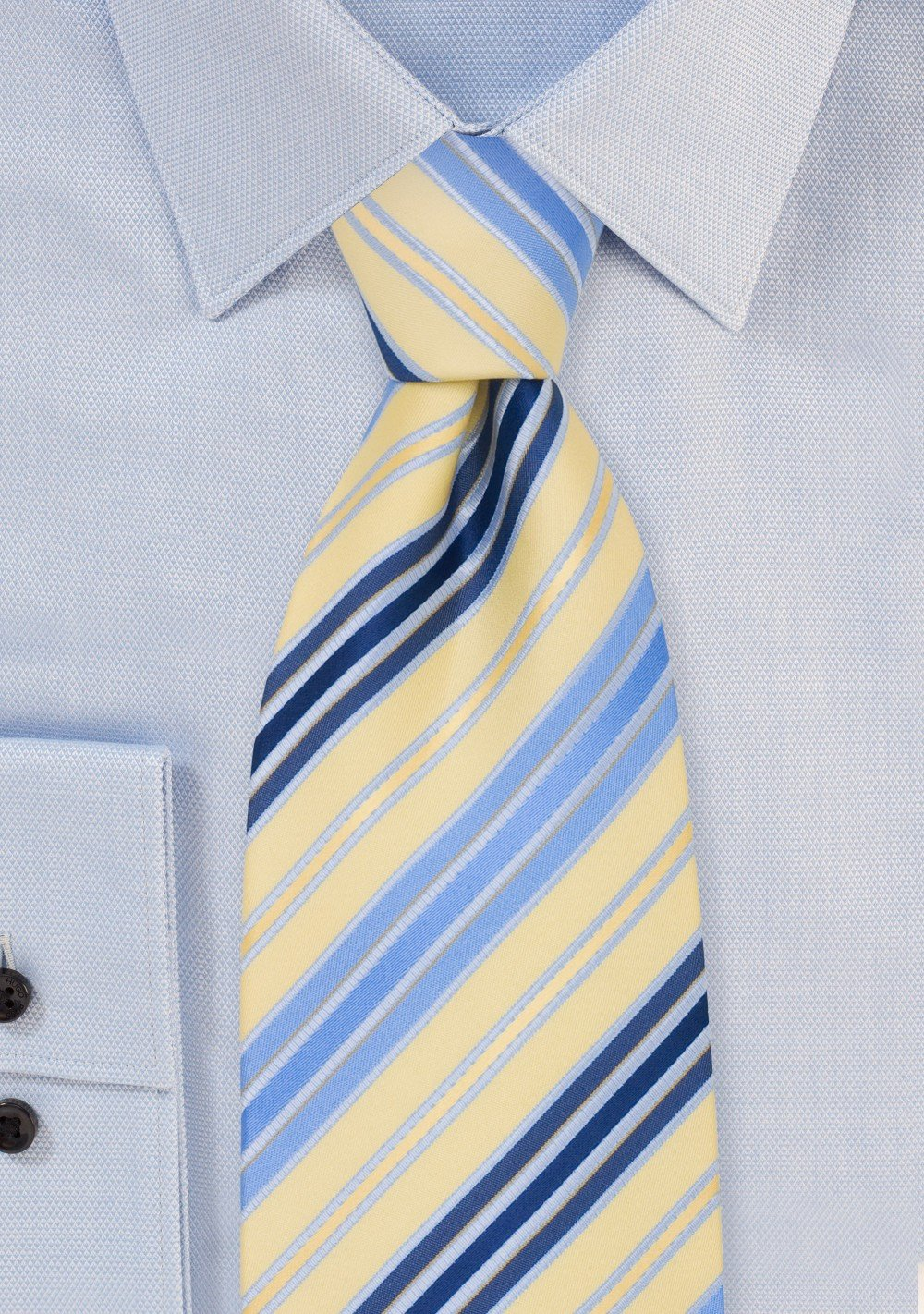 Striped Mens Ties - Navy, Light Blue, and Yellow Necktie
