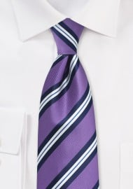 Repp Striped Kids Tie in Lilac