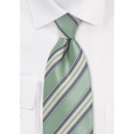 Striped Tie in Clover Green