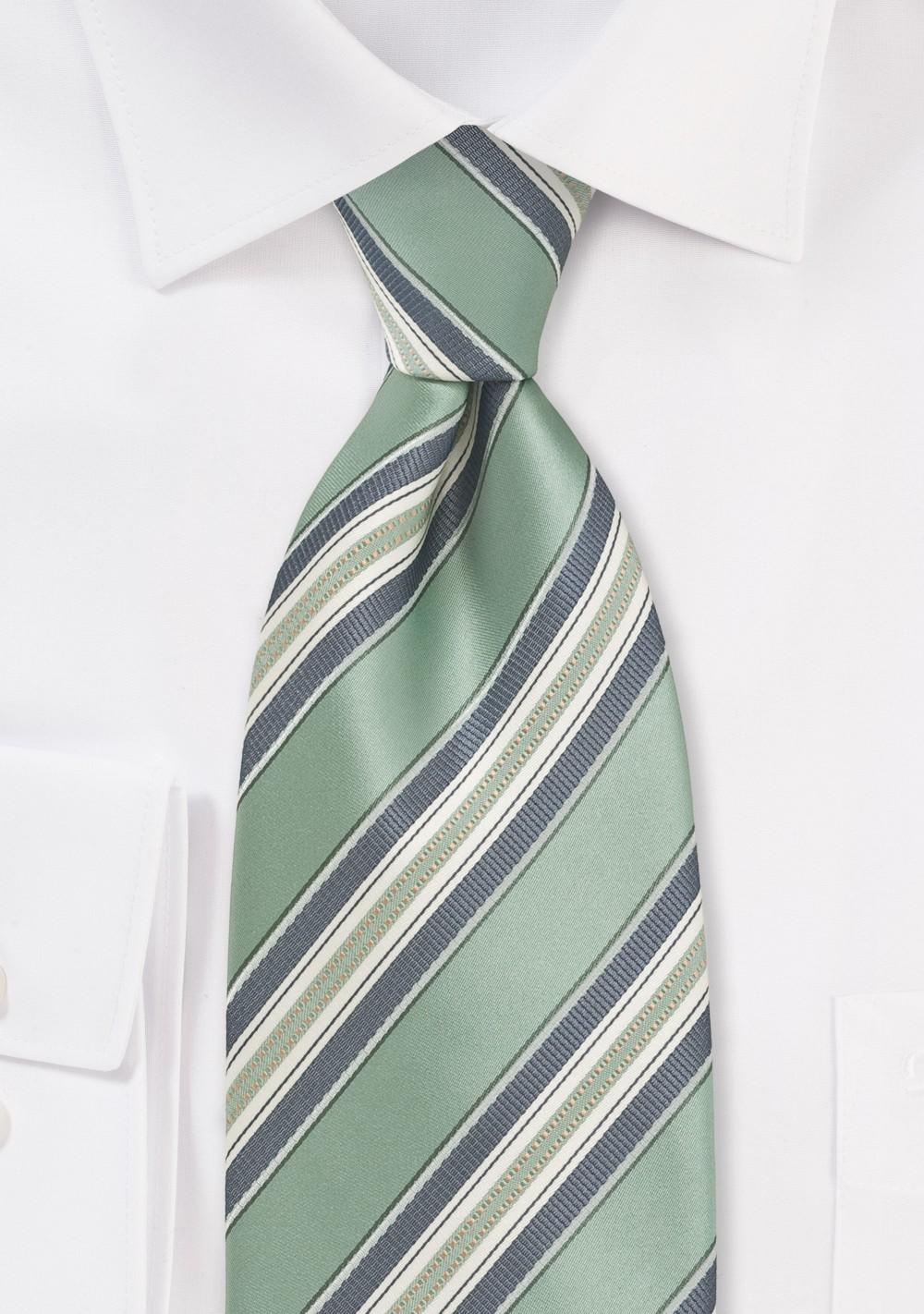 Striped Kids Tie in Clover Green