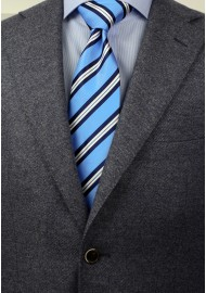 Modern Repp Tie in Light Blue and Navy Styled