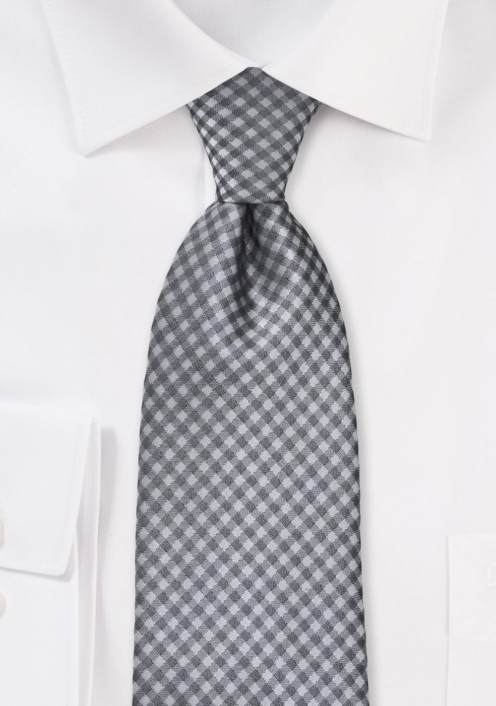 Heather Grey Gingham Tie in XL