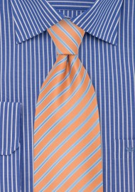 Pink-Orange XL Length Tie with Blue Stripes