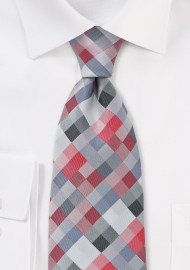 Diamond Check Kids Tie in Red and Silver