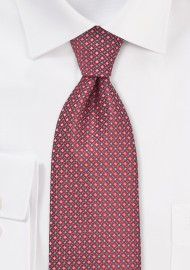 Red and Silver Diamond Patterned Tie in Kids Size