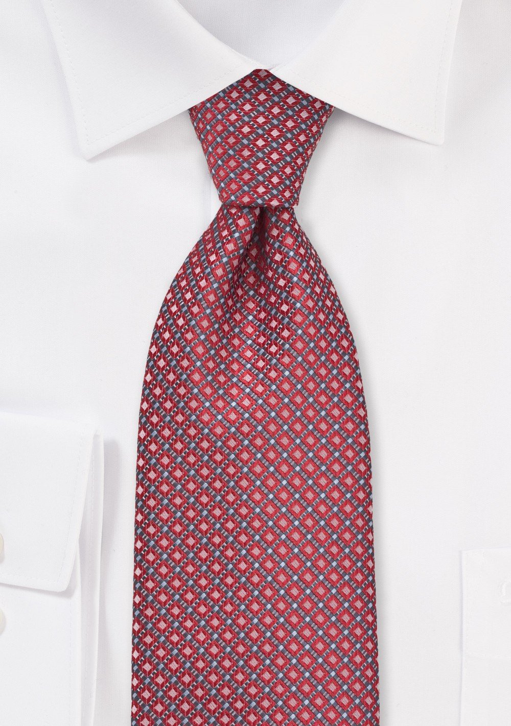 Diamond Pattern XL Length Tie in Red