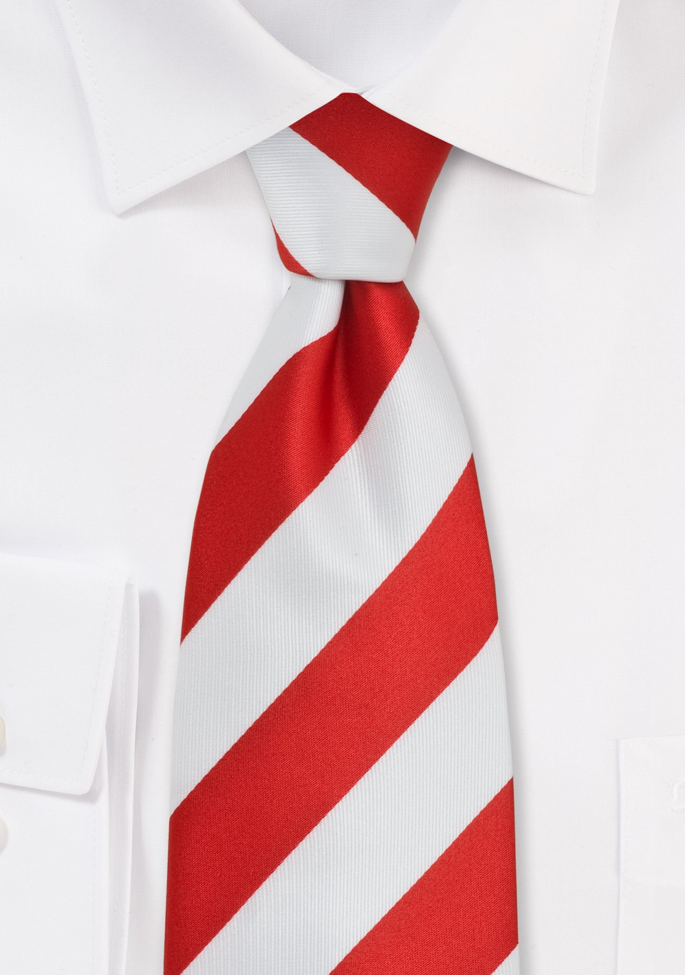 Wide Striped Kids Tie in Red and White