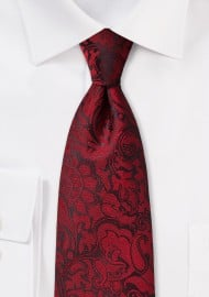 Burgundy Colored Paisley Necktie