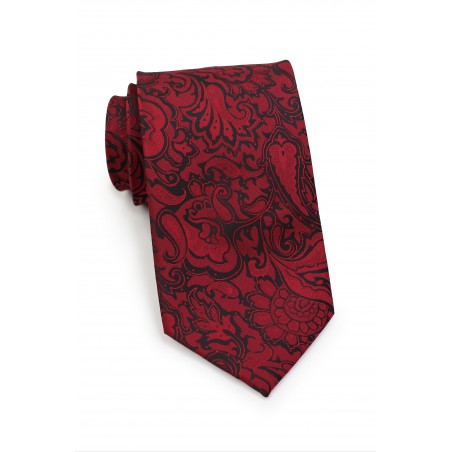 Burgundy Paisley Necktie in XL Length