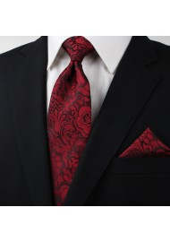 Burgundy Paisley Necktie in XL Length Styled