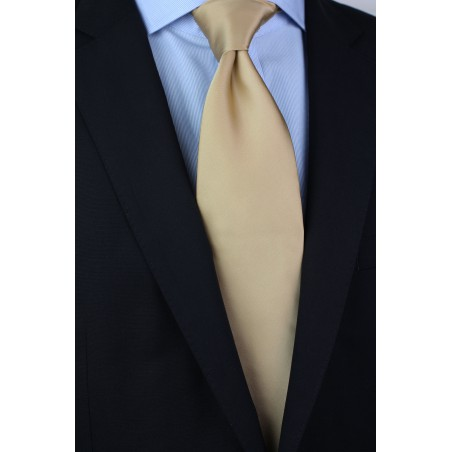 Solid Champagne-Cream Tie Styled