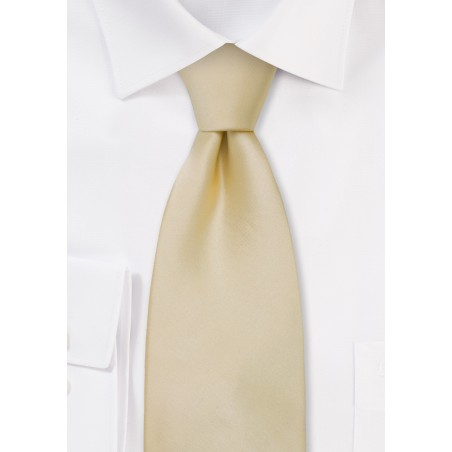 Solid Champagne Tie in XL Length