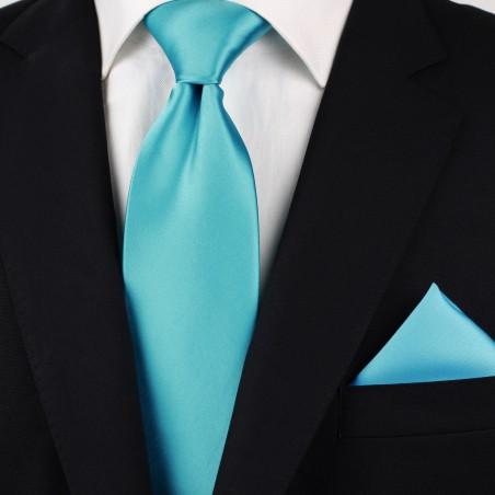 Bright Aqua Colored Necktie Styled