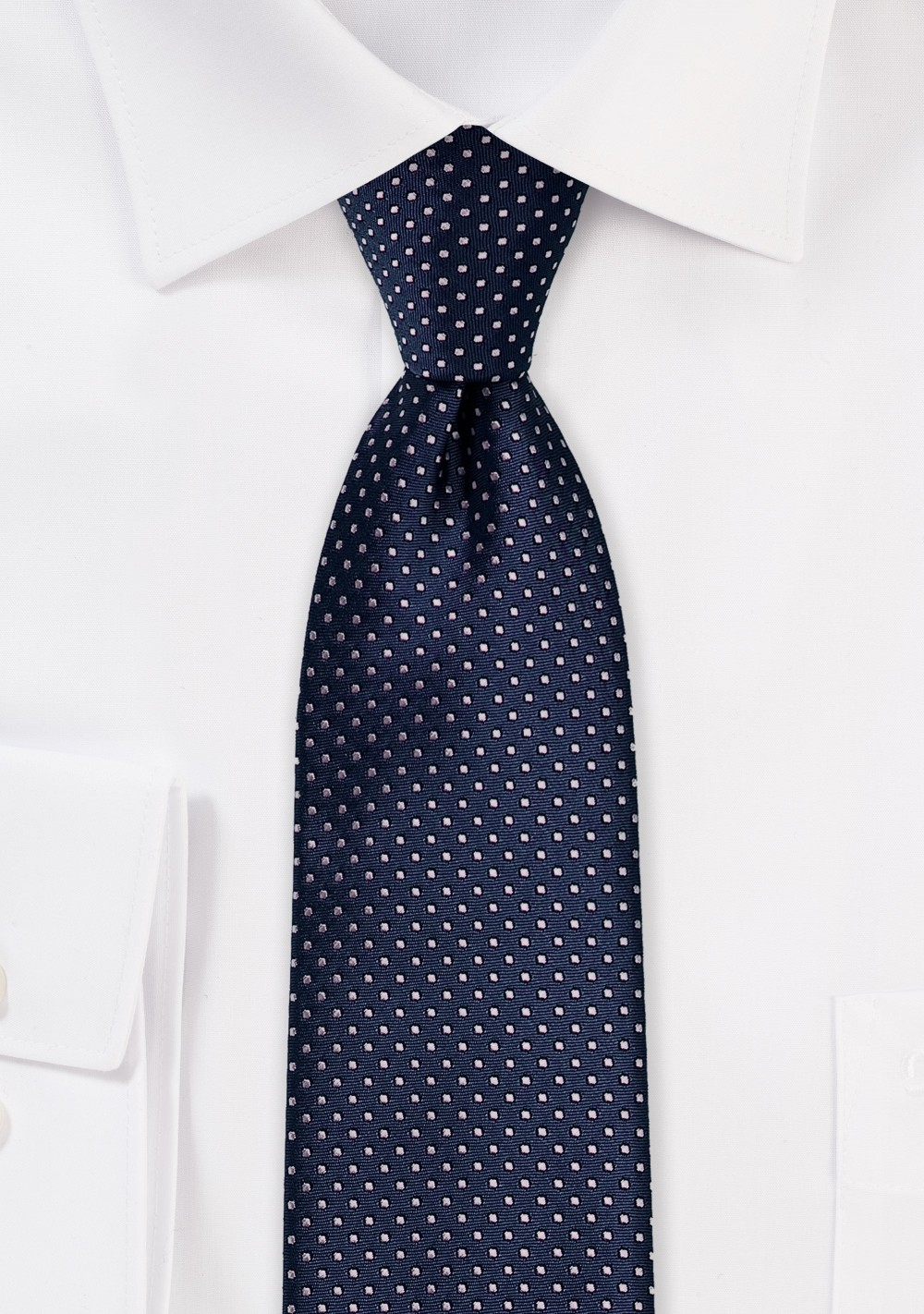 Dark Navy Skinny Tie with Silver Pin Dots