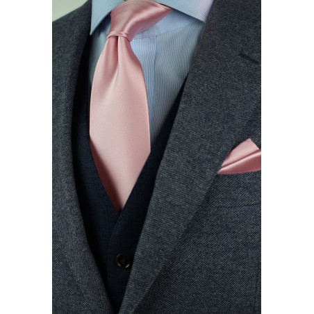 Soft Pink Color XL Length Tie Styled