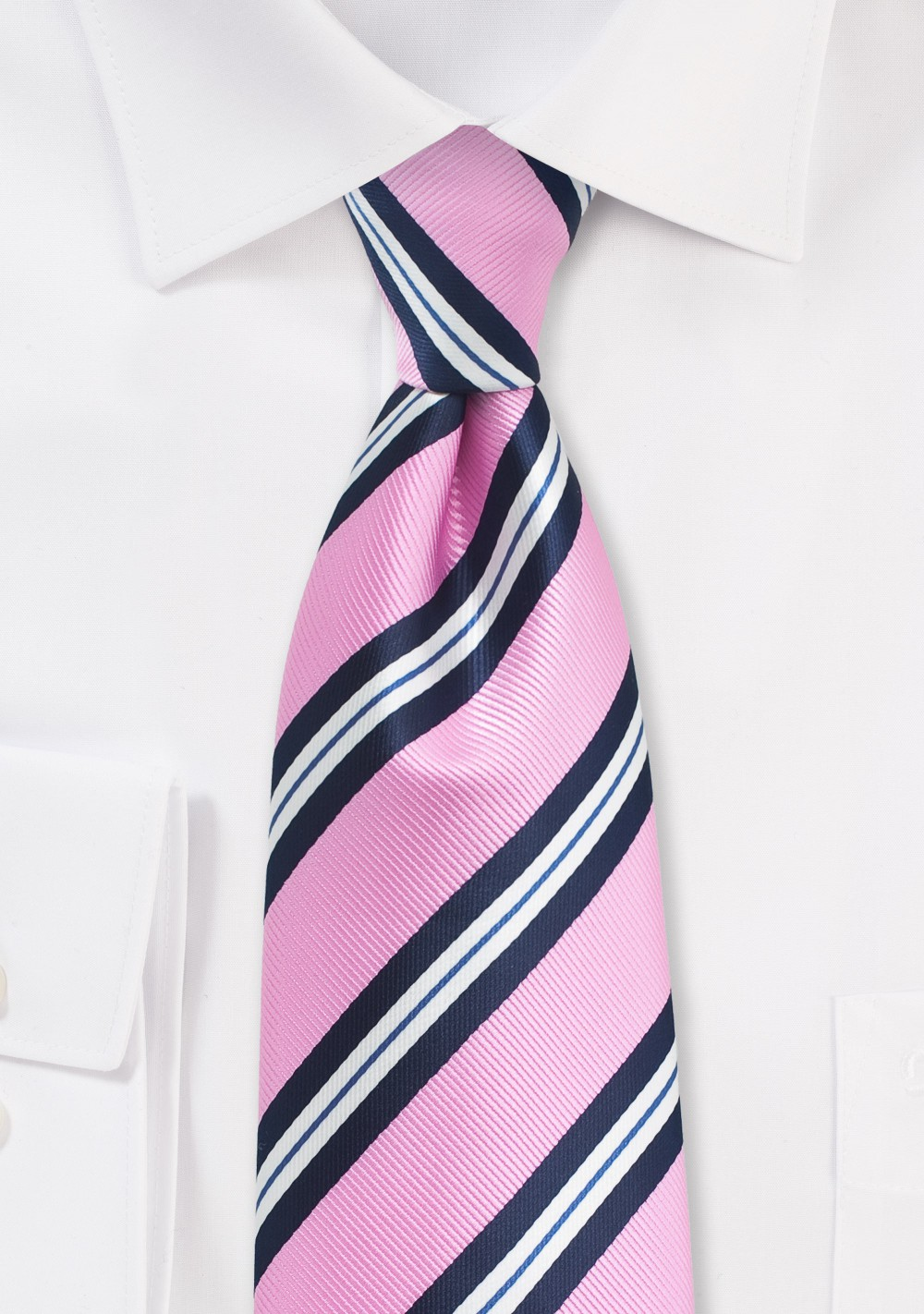 Bright Pink, Blue, and White Striped Tie
