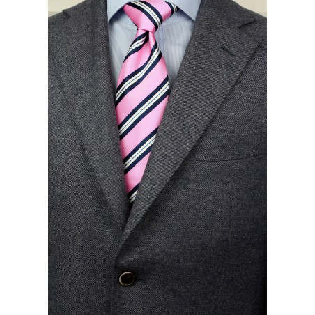 Bright Pink, Blue, and White Striped Tie Styled