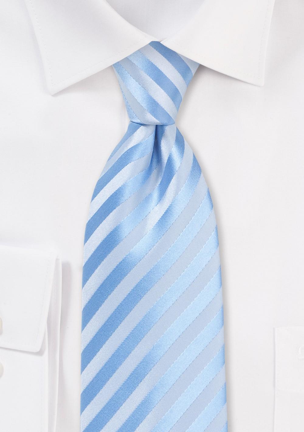 Capri Blue Striped Tie in XL Length