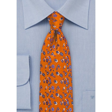 Floral Silk Tie in Ruby Red and Blue