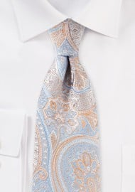 Light Blue and Orange Paisley Tie