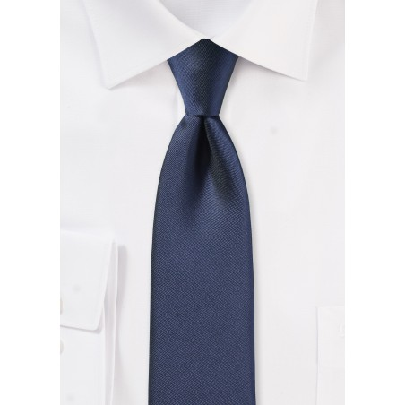 Matte Finish Skinny Tie in Dark Blue