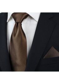 Solid color ties - Coffe brown necktie styled