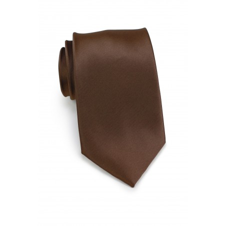 Extra Long Neck Tie in Solid Chocolate Brown