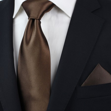 Extra Long Neck Tie in Solid Chocolate Brown Styled