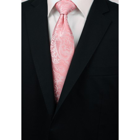 Tulip Color Paisley Tie for Tall Men Styled