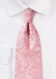 Tulip Pink Kids Tie with Paisley Print