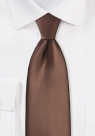 Extra Long Mens Tie in Mocha Brown