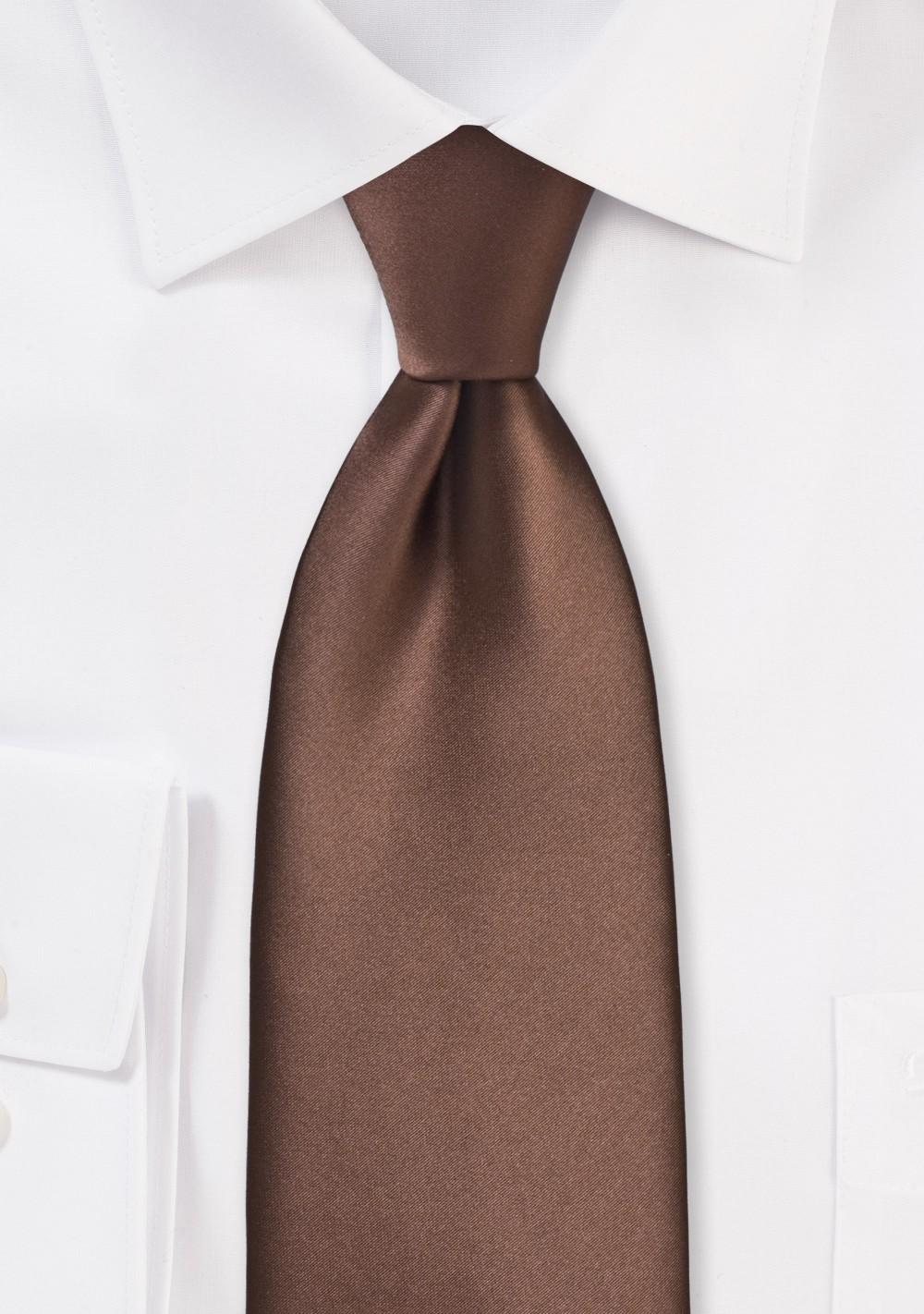Extra Long Mens Tie in Mocha Brown