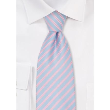 Mens Spring Fashion Tie - Light Blue & Pink Necktie