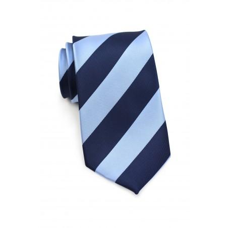 Wide Striped Tie Navy Light Blue
