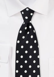 Black Tie with White Polka Dots